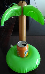 Wholesale 2016 Summer Bath Toys Cute Drink Can Holder PVC Inflatable Floating Coconut Trees Toy Swimming Pool Bathroom Beach Water Toys