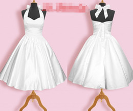 Vintage 1950s White Halter Bridesmaid Dresses A Line Satin Lace Up Back Tea Length Sleeveless Short Party Prom Dress Gown Cheap