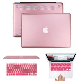 Wholesale Rose Gold Metallic Hard Cover Case for MacBook Air quot Pro Retina quot MacBook Air Pro Retina Plastic Cover Rose Gold keyboard Cover