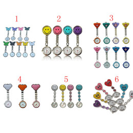 Wholesale 50PCS silicone metal nurse watch nurse pin watch silicon nurse fob watch pocket nurse watch Model butterfly smiley face Triangle Mickey
