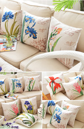 Wholesale Europe Pillow case pillowcase Elegant Florals bolster back cushion pillow cover for auto home supplies sofa Cotton linen quality cm