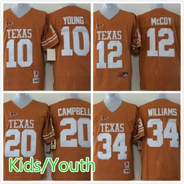 Wholesale Texas Longhorns Vince Young Colt McCoy Earl Campbell Ricky Williams Kids Youth College Football Jerseys Replica Yellow