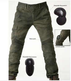 Wholesale Men s motorcycle pants uglyBROS Motorpool riding jeans racing Protective pants of locomotive Black Stain over Olive green