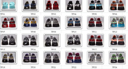 Wholesale Hot Sale winter Cotton Knit American Football Team Pom Pom Beanies Hat Striped Cuff Winter Hats For Men Basketball Skullies Mix Order