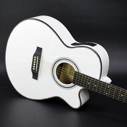 Wholesale 40 inch ballad guitar electric box with mid range EQ basswood guitar guitar guitar white factory direct sale