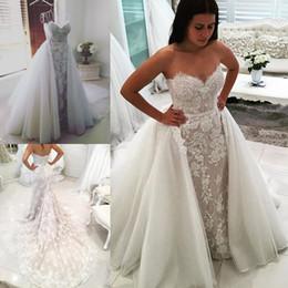 2018 Mermaid Full Lace Wedding Dresses Backless Sleeveless Beaded Berta Trumpet Bridal Gowns Detachable Train Vintage Wedding Dress
