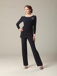 Wholesale Black Chiffon Mother Of The Bride Pant Suits With Jewel Neckline Long Sleeves Ruffles Ronald Joy Plus Size Mothers Formal Evening Party