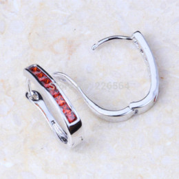 Free Shipping Prominent Red Garnet Crystal Silver Clip Earrings E091 earring silver earring findings clip on