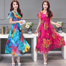 Wholesale Summer dresses News Women s clothing Floral print Full skirted dress Beach long style Chiffon Short sleeve Casual Dresses