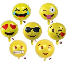 Wholesale 18 expression balloons Emoji foil balloon happy birthday party Emoticons helium ballon wedding decor inflatable balls