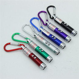 Wholesale 3 in1 LED Mini Flashlight Aluminum Alloy Torch with Carabiner Ring Keyrings mini Flashlight Red Laser Pointer