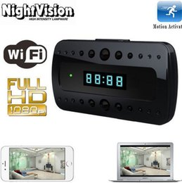 Wholesale HD P P Wireless Wifi IP Spy Hidden Camera Motion Detect Security Clock Cam IR