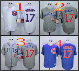 Wholesale 2016 Majestic Official Cool Base MLB Stitched Chicago Cubs Kris Bryant White BLue Gray Baseball Jerseys Mix Order