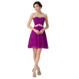 Fashionable Purple Cocktail Dress 2019 Newest Sexy Backless Sweetheart A-Line Cap Sleeve With Beadings Sequin Knee-Length Homecoming Dress