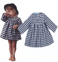 Wholesale Chinese Baby Girl Costume - 2017 kids clothes girls Fashion Plaid Dresses Costume Baby Long Sleeve Party TUTU DRESS Children Rapunzel Clothes Vetement Fille Vestidos