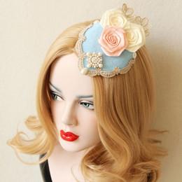 Descuento las cabezas de flor clips la boda del pelo clips boda del perno de pelo de la flor azul Nupcial Accesorios Cabeza Sombreros para el partido de la boda de Navidad se visten de época Fascinator
