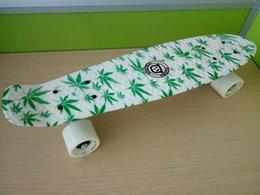 Wholesale 22inchs Long Hydrographics Transfer Printing Leaves Pattern Good Quality Mini Cruiser Skateboard Retro Fish shaped Board