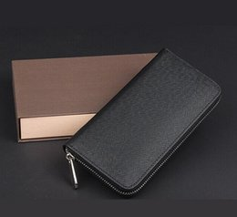 Wholesale 2016 Famous Brand Business Men Long Zipper Wallet Purse Male High Capacity multi card Clutch Bag Black Wallets with box