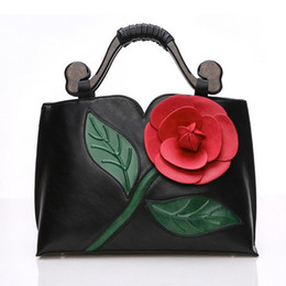 Brand Women tote bag with a flower bucket bag high quality PU leather handbag vintage shoulder messenger bags 3D Rose bags 7 Colors