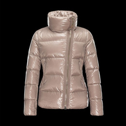 New Women Jacket Stand Collar Fashion Coat Puffy Duck Duvet Inclined Zipper Brown Ladies Parka Down & Parkas