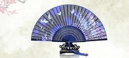 Wholesale Chinese Silk Bamboo Hand Fans for wedding Dancing With Pretty Scenic Views Party Gifts Arts Crafts Free Shopping