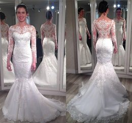 New Wedding Dresses Mermaid Style Sheer Neck With Lace Applique Long Sleeve Wedding Gowns Back Covered Button Custom Made Bridal Dress