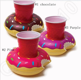 Wholesale Inflatable Donut Coasters PVC Cup holder Water coke cup holder Beverage Boats Big Mouth Swimming holder OOA235
