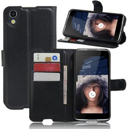 Wholesale Lichi PU Leather Wallet Case for Alcatel IDOL Protective Stand with Card Slot Mobile Phone Cover for Alcatel Colorful