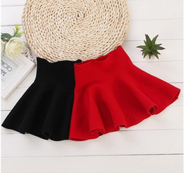 2016 Children Girl Waist Skirt Kids Wool Knit Skirt Red Black Baby Tutu Skirt Pettiskirt Tutu Skirt Children Vestidos Infantil
