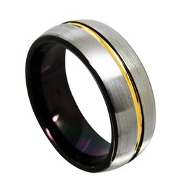8mm Yellow Gold and Black Tungsten Ring fashion jewelry finger ring for men