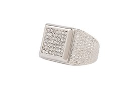 Wholesale Size7 Silver Band Micropave CZ AAA Crystal Men s Hip Hop Bling Iced Out Pinky Ring