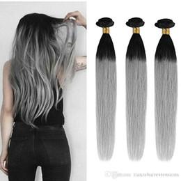 "Grade 8A Straight Ombre Color Brazilian Human Hair Weaves T1B Gray 12""-28"" Optional 3Bundles 100g pc 100% Virgin Human Hair Extensions"