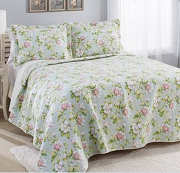 Wholesale Laura Ashley Coral Coast Mist Quilt Set Cotton Bed Sheet Sets pieces Aqua Green