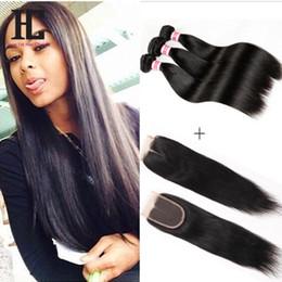 Peruvian Virgin Hair With Closure 3 Bundles Peruvian Virgin Hair Straight With Closure 7A Grade Human Hair Weave With Closure