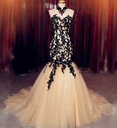New Design Mermaid Black Lace Evening Dresses Backless High Neck Sleeveless Champagne Tulle Women Formal Gowns Custom Made