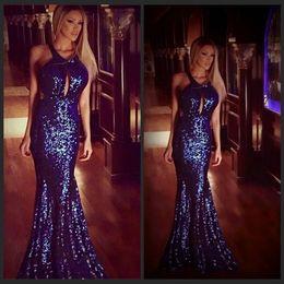 Dark Blue Shining Long Mermaid Halter Evening Dress Beads Sequins Crystals Formal Dress Prom Gowns