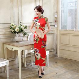 Free shipping high-grade long cheongsam Faux Silk printed cheongsam qipao dress chinese traditional dress