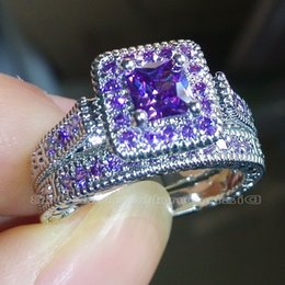 Size 5-10 Vintage Jewelry Princess cut Amethyst Simulated Diamond CZ Wedding Gemstones Engagement Bridal Rings set for Women love gift
