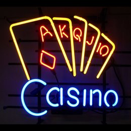 Casino Real Glass Neon Light Sign Home Beer Bar Pub Recreation Room Game Room Windows Garage Wall Sign