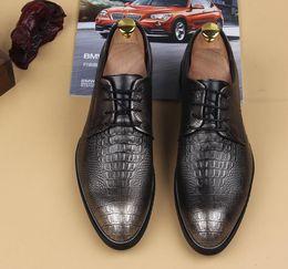 fashion pure color men's gold leather lace-up shoes fashion leisure business wedding groom shoes breathable shoe mens dress black