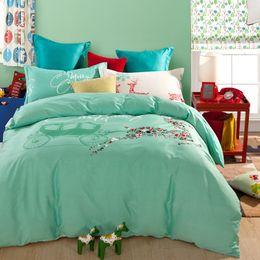 Wholesale Cotton Comforter Sets Queen Sale - Merry Christmas Deer Print Green Bedding Sets Queen Size 100% Cotton Duvet Cover Pillowcase Bed Sheets Home Textile Sets On Sale