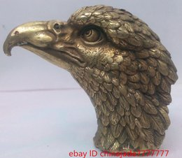 Wholesale Rare Collectibles Old Decorated Handwork Copper Carving Eagle Head Statue