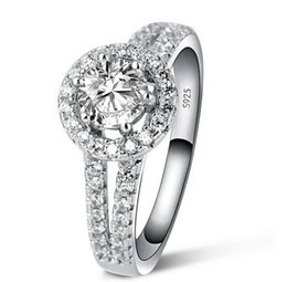 Free Shipping Fine 1 CT simulate diamond ring for women Luxury 925 sterling Silver ring engagement ring for women bridal gift for girl