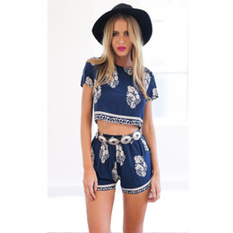 Wholesale 2016 Women summer two Piece Set Outfits leaves Print O Neck Short Sleeve crop top and shorts set