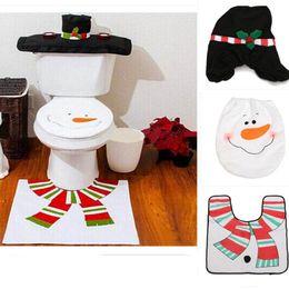 Wholesale New XMAS Snowman Toilet Seat Cover Rug Bathroom Mat Set Christmas Decorations Hot Sale