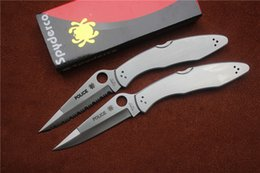 Wholesale Spyderco C07P C07S Folding knife Blade cr18mov Satin Handle Steel Outdoor camping hand tools EDC gifts