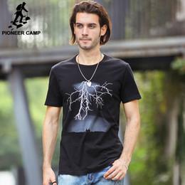 Pioneer Camp Lightning Printed T-Shirt Men Black Tees Mens Fashion T Shirts Casual Clothing Fitness Cotton Tshirt 2016 summer Limited Sale