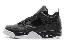 Air en cuir libre à vendre-Vente en gros Air Retro 4 Premium Black Dunk De cuir noir dessus de l'homme blanc sneaker Cement homme chaussures de basket-ball taille eur 41-47 livraison gratuite