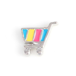20pcs lot Shopping Cart Enamel Floating Locket Charms For Living Floating Lockets
