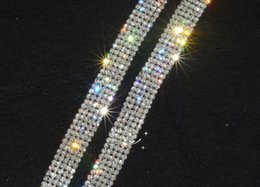 5-row crystal rhinestone trims close chain silver ss16 x1 yard